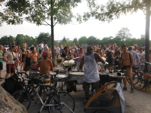 Time to dance with the drumming guys in the park!